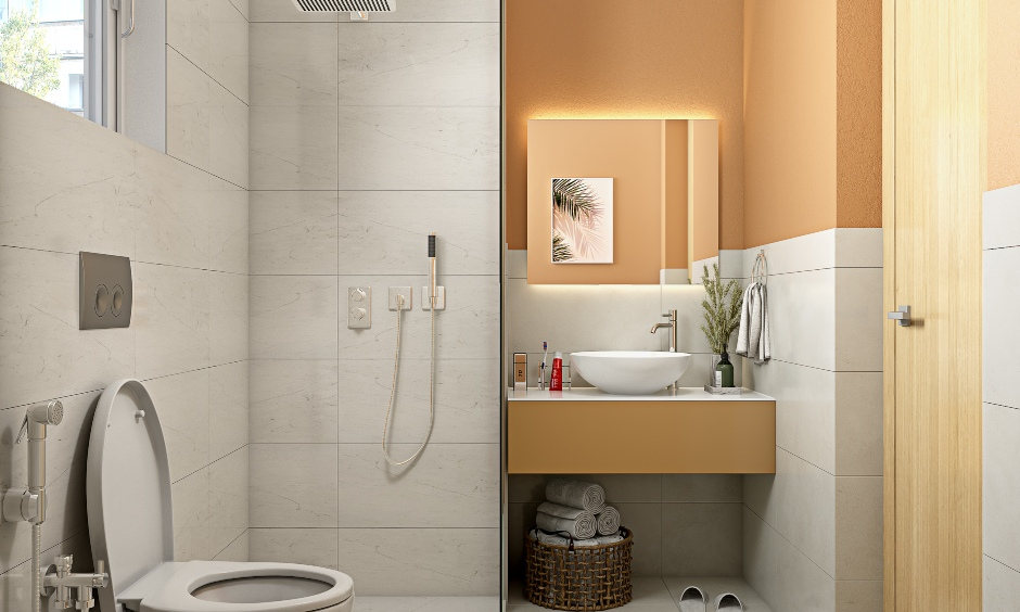 1 bhk house bathroom designed by best 1bhk apartment interior designers