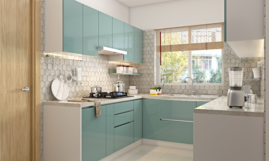Dual colour tone kitchen designed in 1bhk apartment with hexagonal tiled backsplash