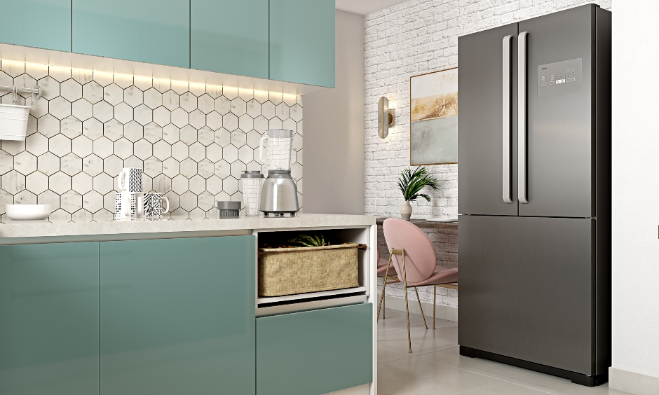 L shaped modular kitchen designed by 1bhk home interior designers