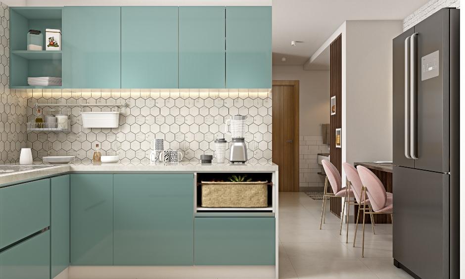 Sleek l shaped kitchen in 1 bhk house design