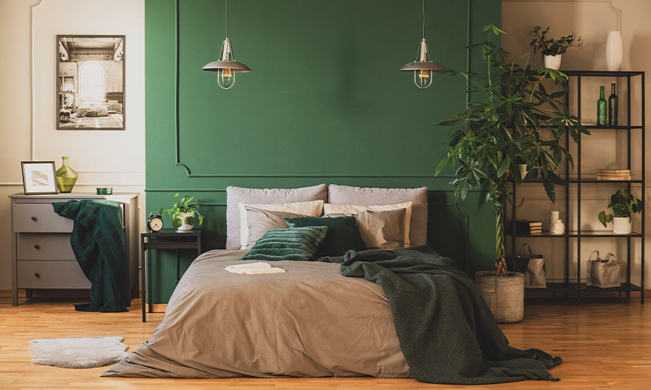 Passionate romantic bedroom wall colors painted in green and decorative lights