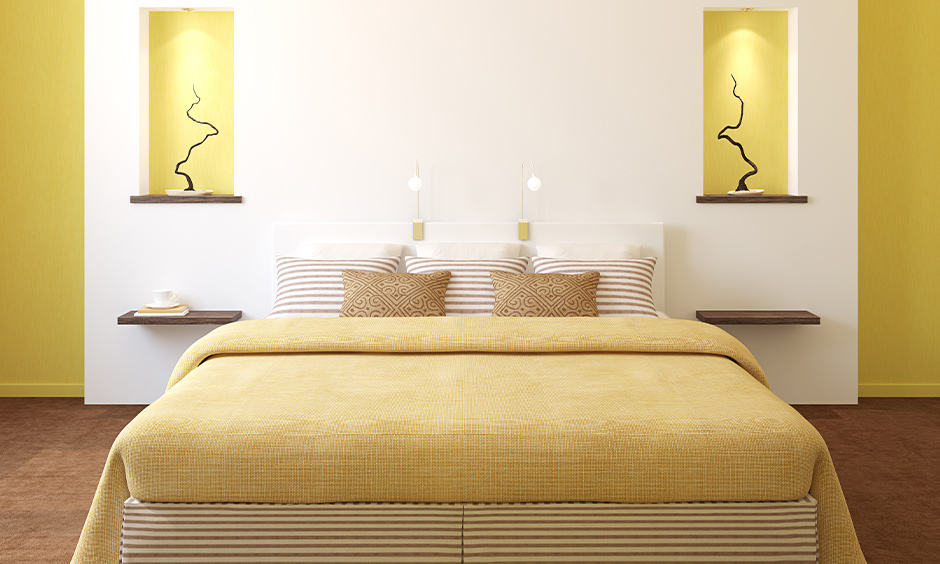 Romantic bedroom colours with a bright yellow wall