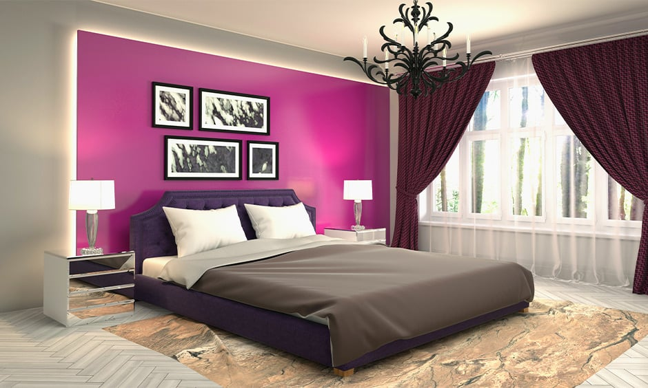 Romantic master bedroom paint colour with purple and candle chandelier
