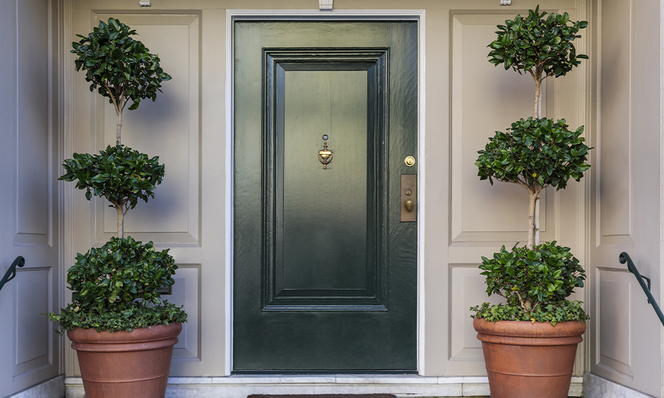 The entrance door in green colour facing the sixth pada is the north facing house entrance Vastu.