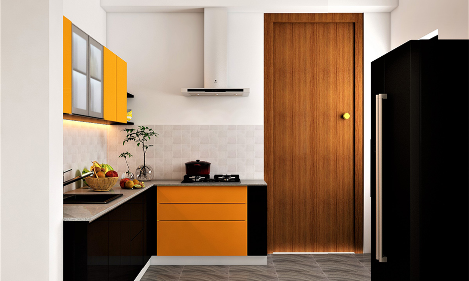 Two tone kitchen cabinets which break the monotony of the small kitchen