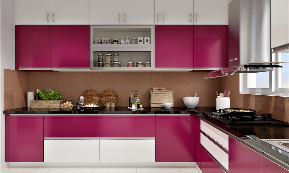 Hot pink and off white two tone stained kitchen cabinets which stand out gorgeously in stark contrast