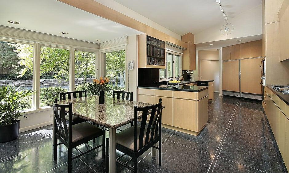 Black granite flooring designs in your kitchen or hallway