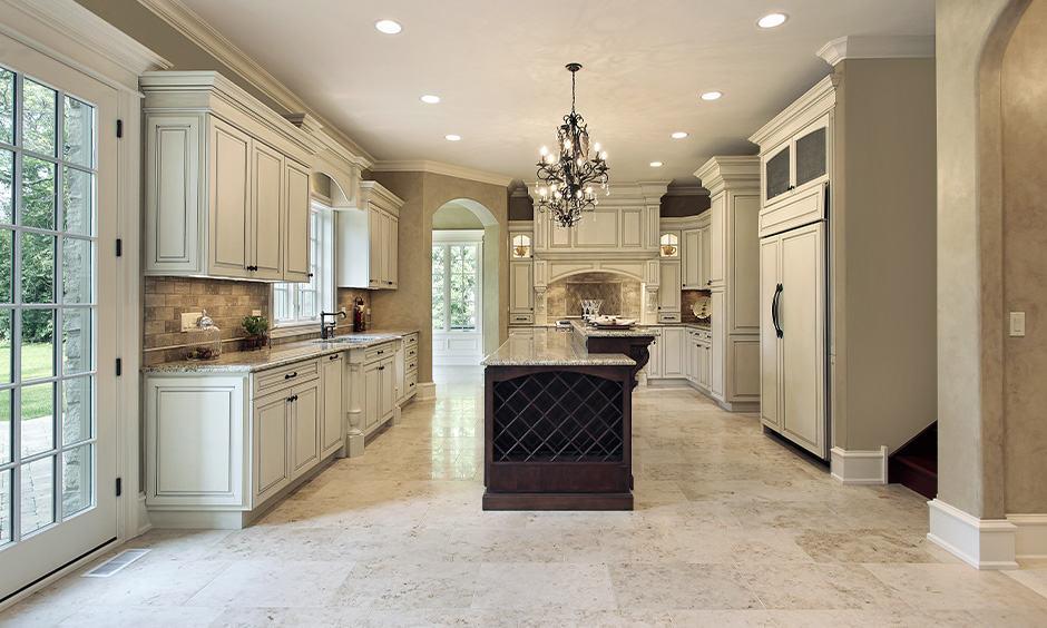 Vintage granite flooring designs with white granite floor