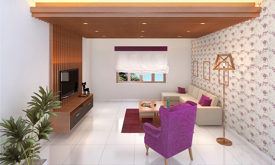 White floor tiles for living room, white ceramic flooring brings aesthetic to the area with sofa and wooden ceiling.