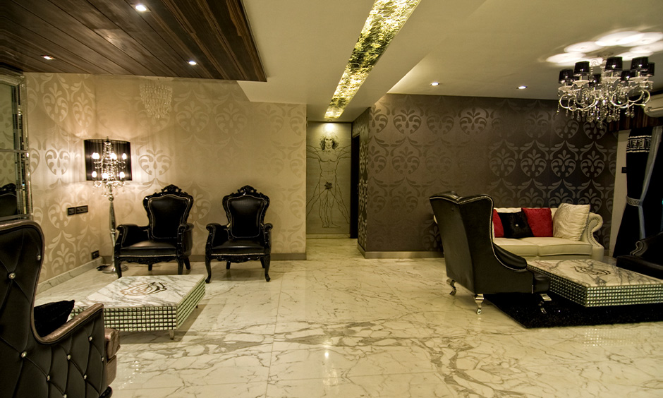 Classic living room with a marble white floor tiles texture gives an elegant look to the area.