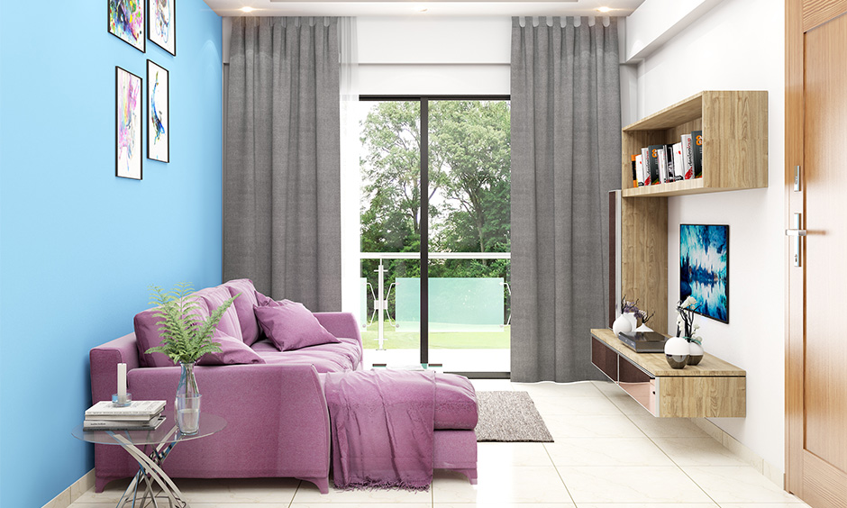 The best colour combination for home, living room with aqua and pink soothing combination looks amazing.