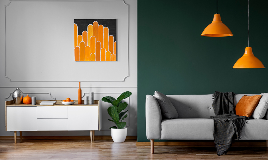 Room coloured in green and tangerine combination gives chic-looking space is the latest colour combination for home.