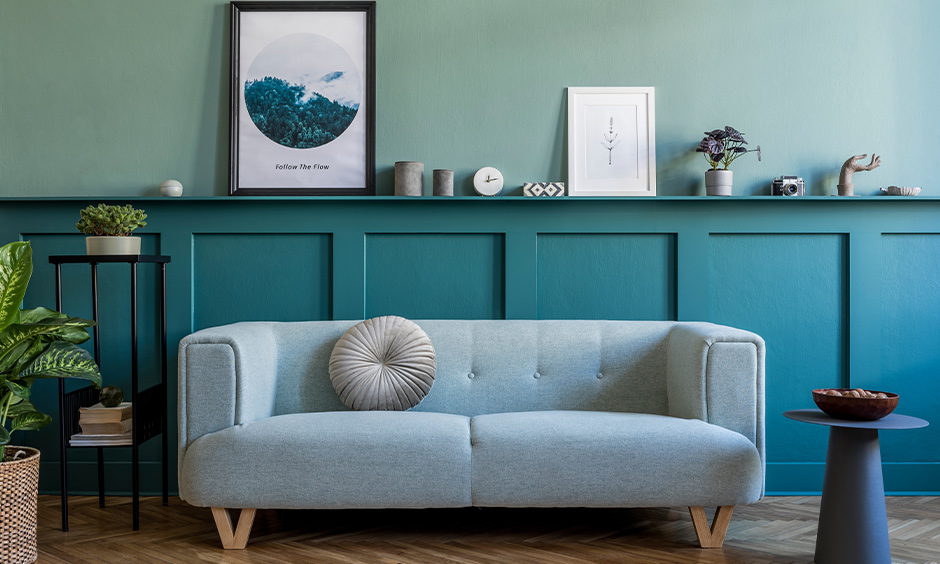 Two colour combinations for home, living room has mint and green combination gives a bold look.