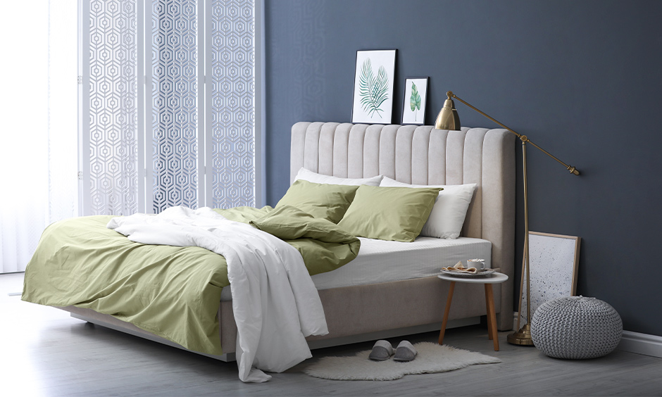Home colour combination for bedroom, bedroom with pistachio and grey combination looks sleek.