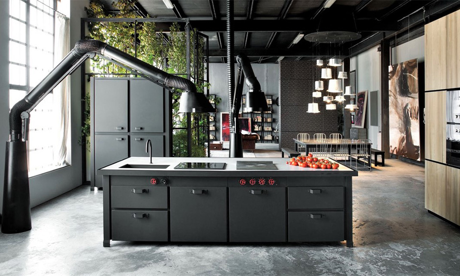 Black stainless steel kitchen cabinets for your home which makes a bold and luxurious statement