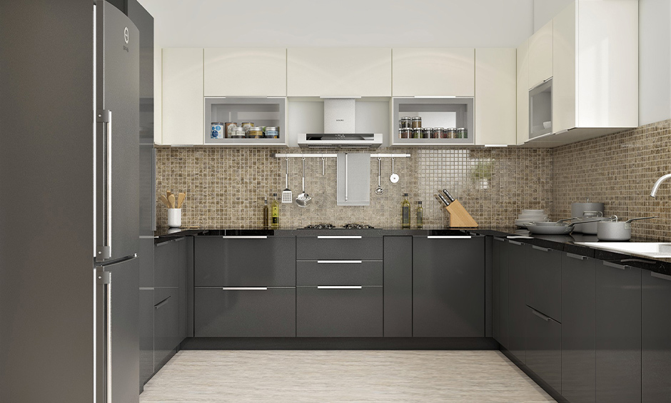 Buy stainless steel kitchen cabinets with ledge pull handles
