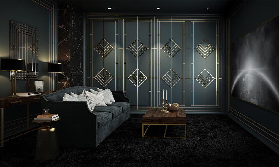 Modern art deco interior design for the living room