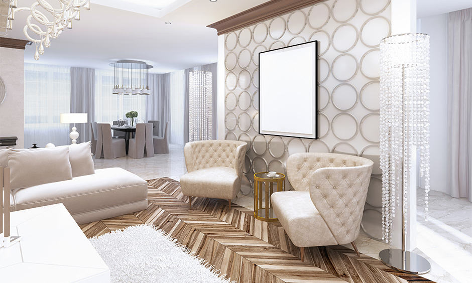 A combination of white, black and grey colours used for art deco interior design