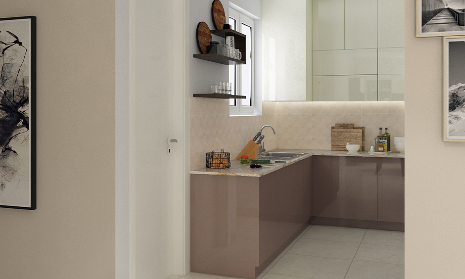 Very small kitchen design Indian style, U-shaped kitchen with Indian style minimal design looks elegant.