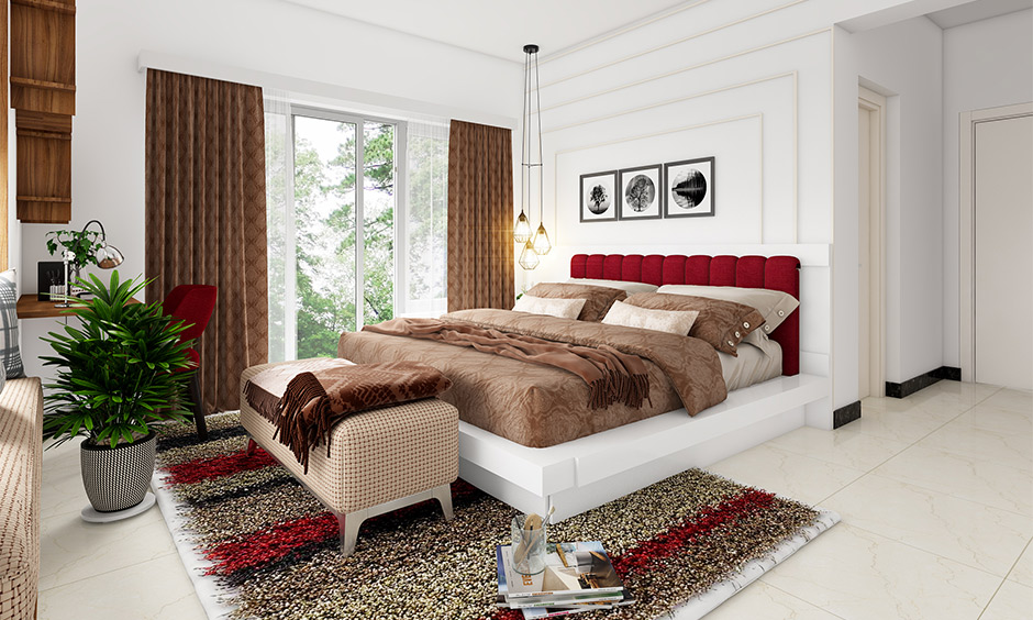 Wooden headboard design, A white wooden bed with a red upholstered headboard elevates the glam to the white bedroom.