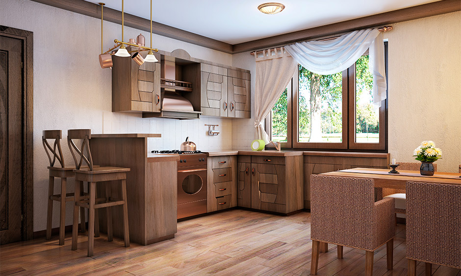 Coffee and cream colored south indian kitchen design