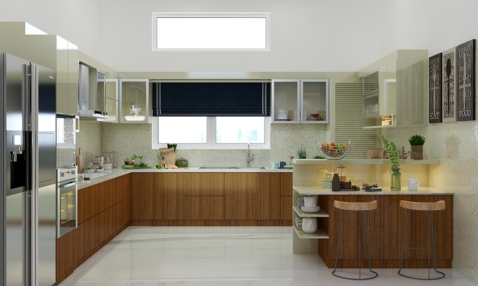 U-shaped kitchen window above the sink decorated with fabric window shades lends vibrant is how to decorate kitchen window.