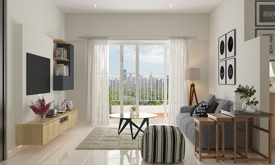 Living room large window decorated with sheer curtains brings an elegant look is how to decorate a living room window.