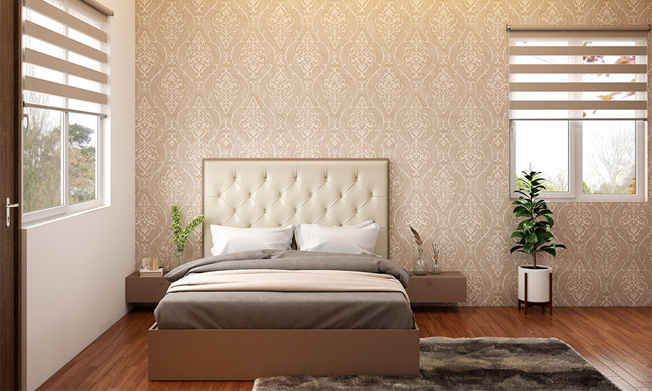 How to decorate a window, the bedroom has two small windows decorated with blinds and shades that brings airy.