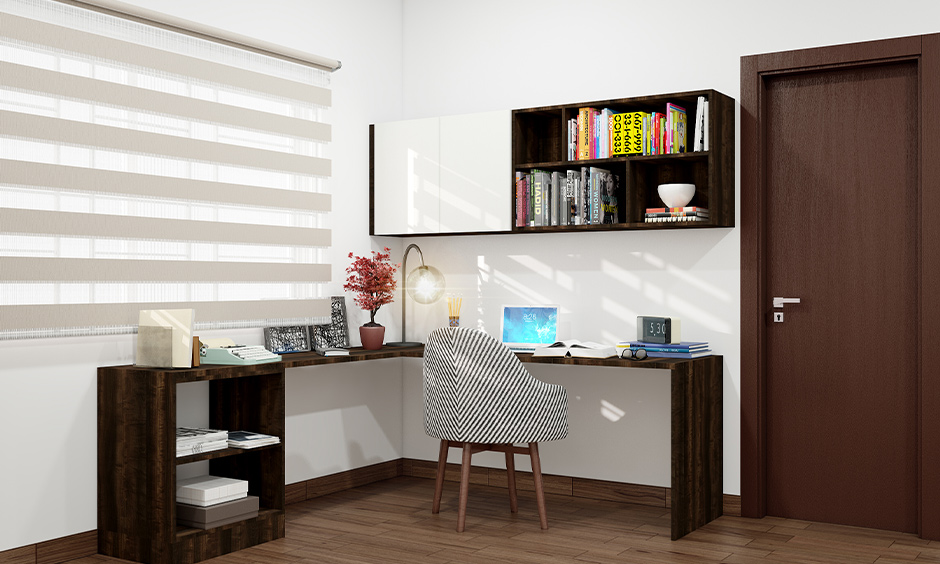 Home workspace with an l-shaped table, chair and small shelves classic design, working from home with kids.