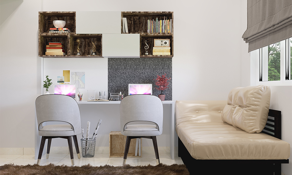 How to work from home with kids, small workspace design with a bed, table and chair brings a sleek look.