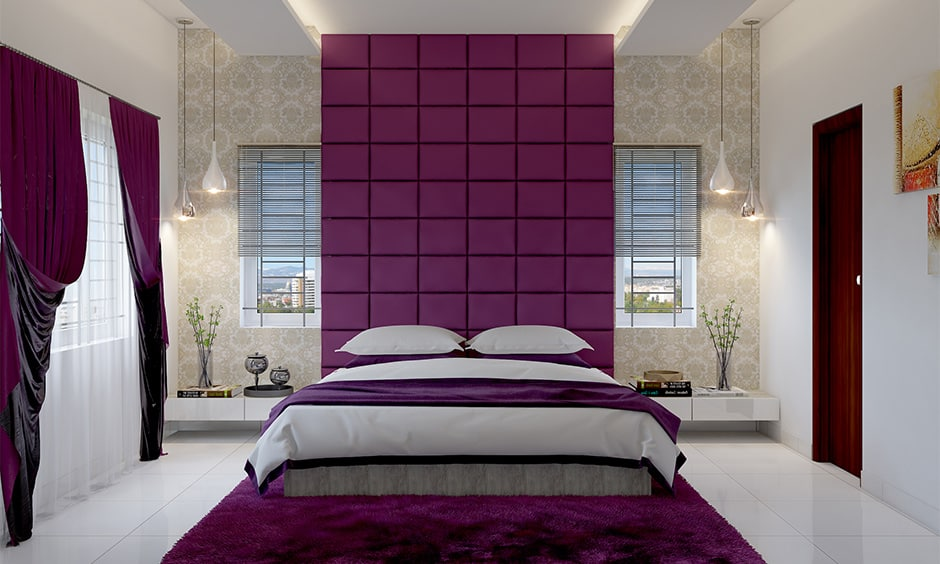 Purple is the perfect colour combination for bedroom according to vastu