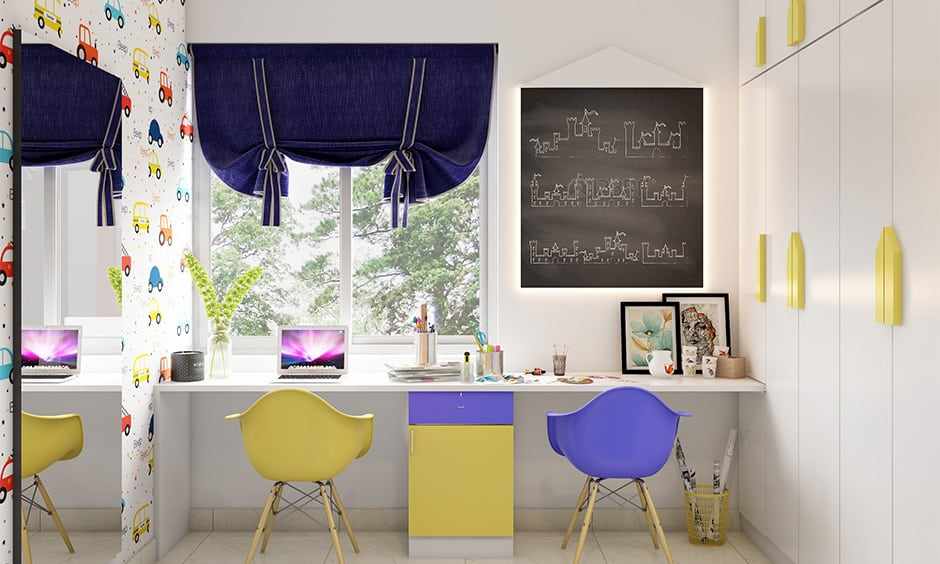 Yellow and violet in colour combination for bedroom according to vastu