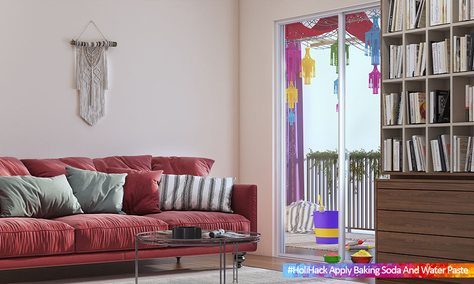 Living room walls coloured with washable paint is the way to protect walls from Holi colours.