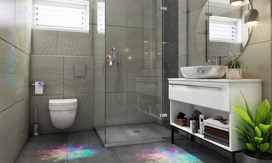 Bathroom tiles cleaning holi stain with baking soda and water paste is how to remove holi colour from tiles.