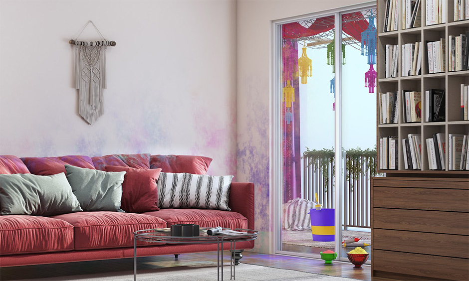 Living room wall cleaning holi stain with baking soda and water paste that's how to remove Holi colours from walls.