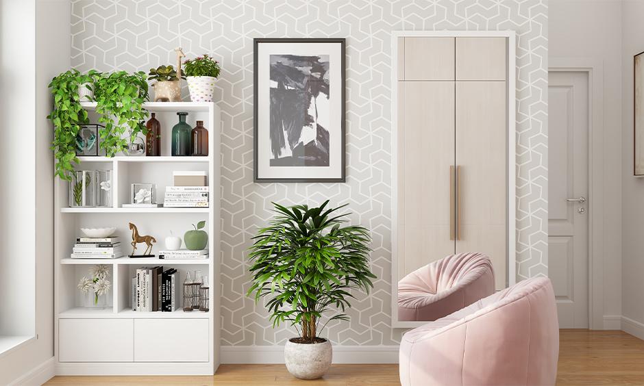Money plant in bedroom Vastu, the bedroom has money plants placed on top of the white open bookshelf.