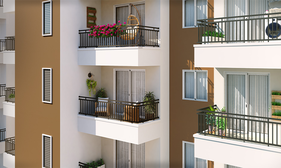 Balcony grill in iron for small apartments