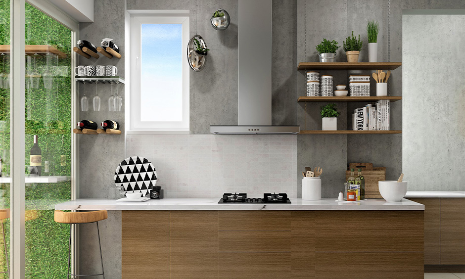 DIY wall wine rack design with glass holder in the small grey kitchen looks minimalistic and stylish.