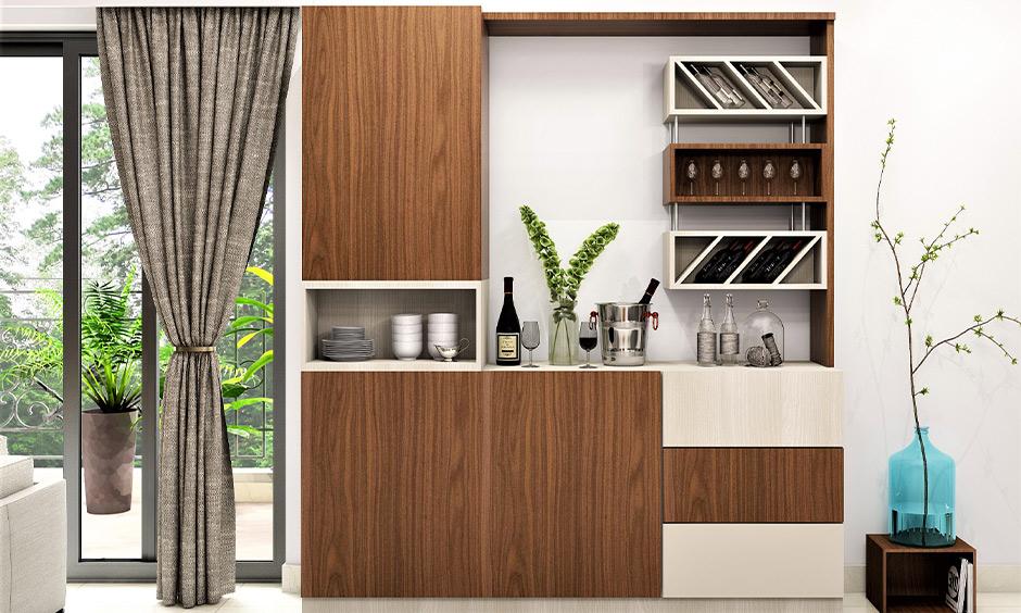 A big modular wine rack design made from wood for storing wine bottles and wine glasses together looks elegant.