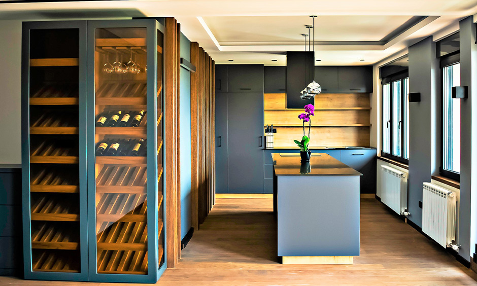 Wine rack design idea, Traditional tall cabinet wine rack with angular shelves, and glass door design lends charm.
