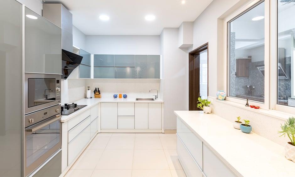 White laminate kitchen countertops gives elegant look