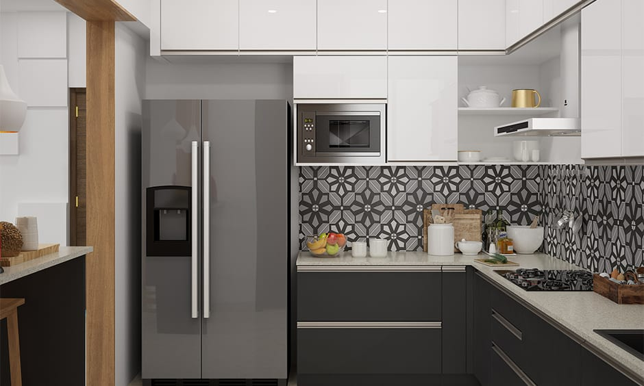 White tile kitchen countertops gives modern look