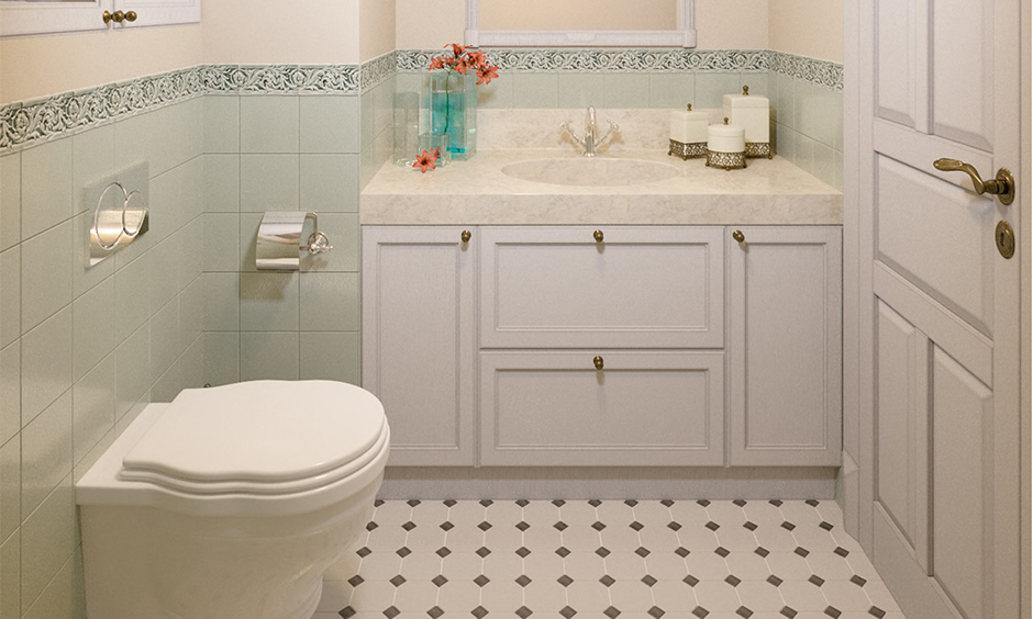 Pastel green wall bathroom tile design idea for small bathroom with white floor tiles are classic.