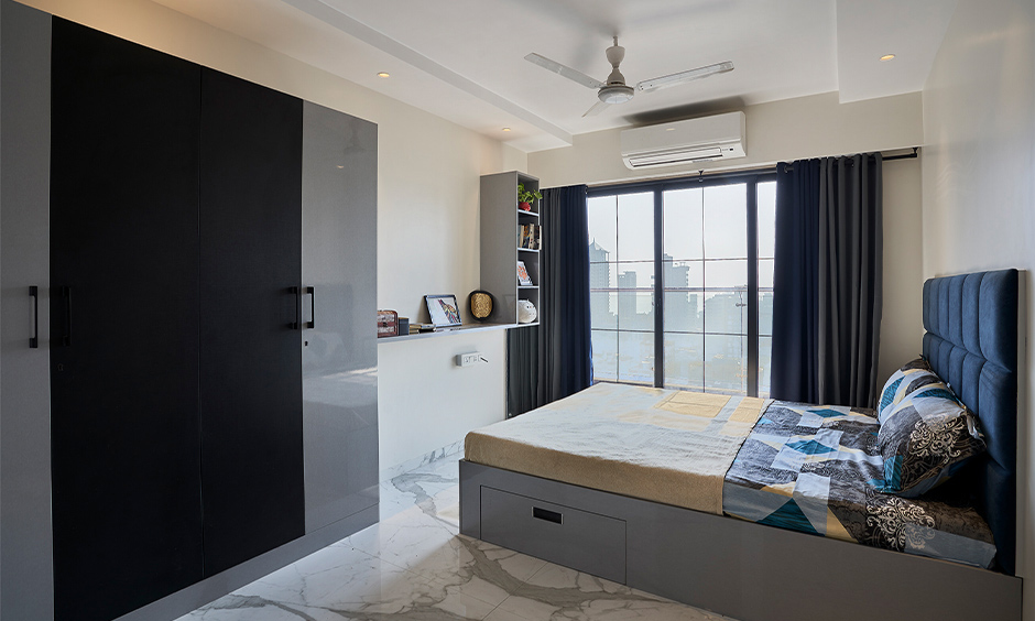 A sophisticated master bedroom designed by best home interior designer in mumbai