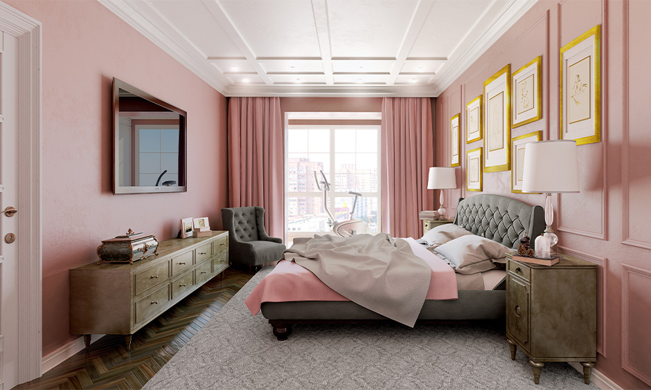 Master bedroom pink color combination for wall with white ceiling and grey furniture looks beautiful.
