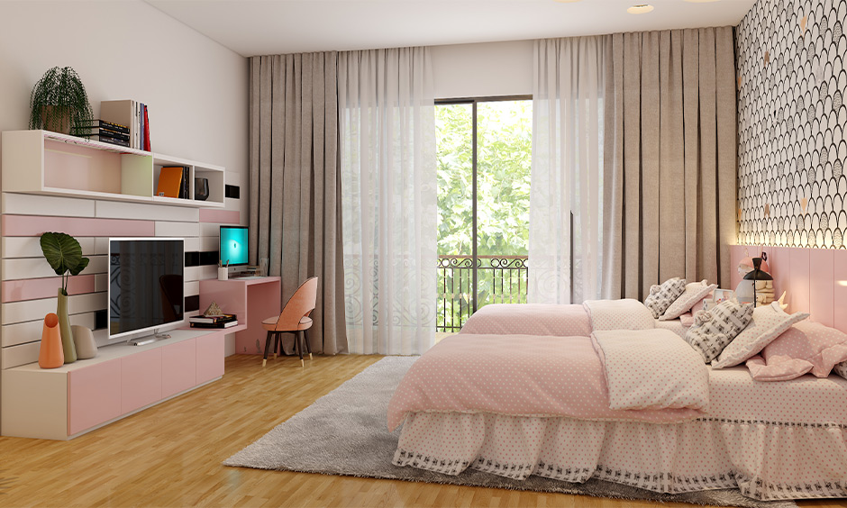 White color combination with pink for wall in kids bedroom with furniture in glossy pink laminate brings aesthetics.