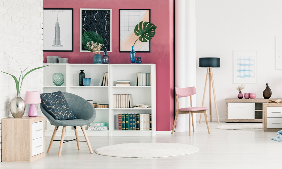 Classy and cheerful pink color combination for walls
