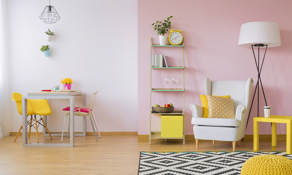White and light pink color combination for wall with a hint of yellow elements brings a quirky vibe.