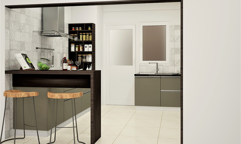 Wall-mounted corner kitchen cabinet storage idea with multiple shelves for spices in a small kitchen look sleek.