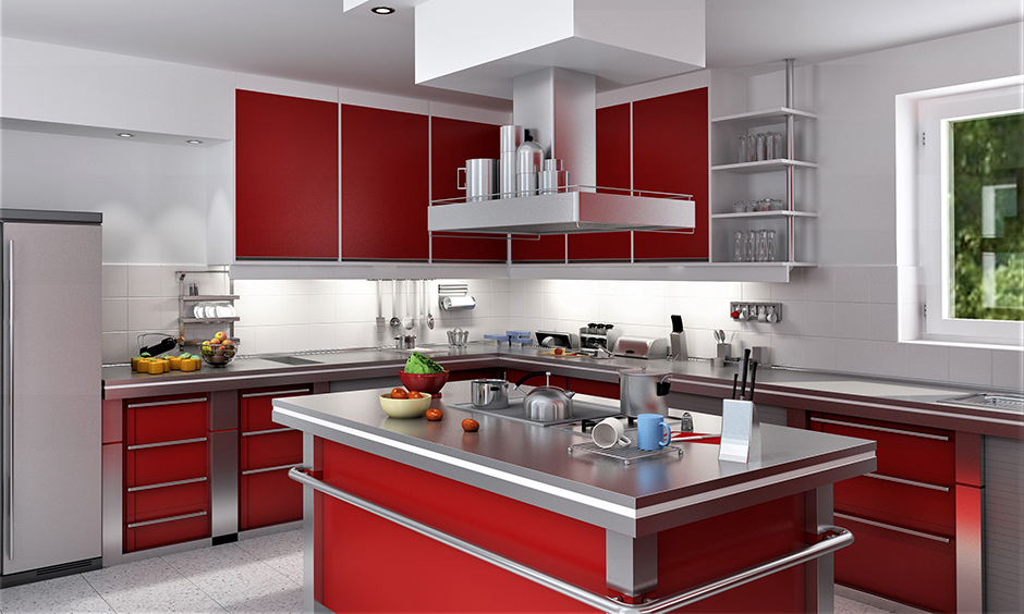 Modern kitchen cabinet storage idea above a kitchen island in dull red and stainless steel looks very stylish and luxurious.